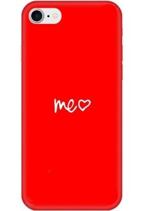 Casethrone Apple iPhone 7 Kırmızı İçi Kadife Silikon Telefon Kılıfı Kr76 Benimkalbim