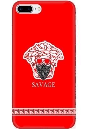 Casethrone Apple iPhone 7 Plus Kırmızı İçi Kadife Silikon Telefon Kılıfı Kr23 Sakallısavage