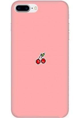 Casethrone Apple iPhone 7 Plus Pembe İçi Kadife Silikon Telefon Kılıfı Pmb28 Kiraz