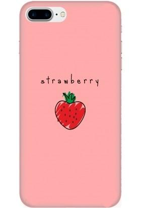 Casethrone Apple iPhone 7 Plus Pembe İçi Kadife Silikon Telefon Kılıfı Pmb62 Strawberry