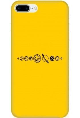 Casethrone Apple iPhone 7 Plus Sarı İçi Kadife Silikon Telefon Kılıfı Sr59 Ufak Gezegenler