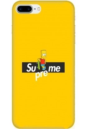 Casethrone Apple iPhone 7 Plus Sarı İçi Kadife Silikon Telefon Kılıfı Sr62 Kaykaycı