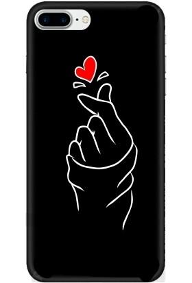 Casethrone Apple iPhone 7 Plus Siyah İçi Kadife Silikon Telefon Kılıfı Sb48 Kalpfigürü