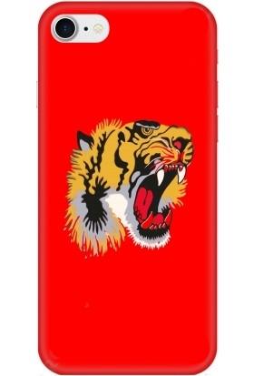 Casethrone Apple iPhone 8 / Se 2020 Kırmızı İçi Kadife Silikon Telefon Kılıfı Kr53 Kaplan