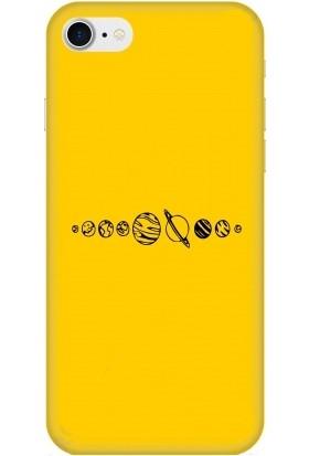 Casethrone Apple iPhone 8 / Se 2020 Sarı İçi Kadife Silikon Telefon Kılıfı Sr59 Ufak Gezegenler