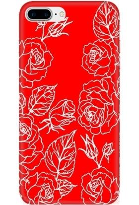 Casethrone Apple iPhone 8 Plus Kırmızı İçi Kadife Silikon Telefon Kılıfı Kr24 Cicekcizim