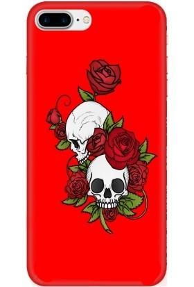 Casethrone Apple iPhone 8 Plus Kırmızı İçi Kadife Silikon Telefon Kılıfı Kr29 Mezar Cicegi