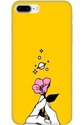 Casethrone Apple iPhone 8 Plus Sarı İçi Kadife Silikon Telefon Kılıfı Sr06 Taneli Cicek