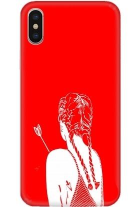 Casethrone Apple iPhone X / XS Kırmızı İçi Kadife Silikon Telefon Kılıfı Kr17 Vahsikadın
