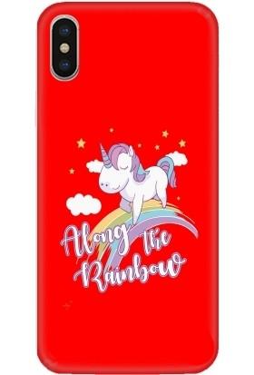 Casethrone Apple iPhone X / XS Kırmızı İçi Kadife Silikon Telefon Kılıfı Kr77 Ufak At