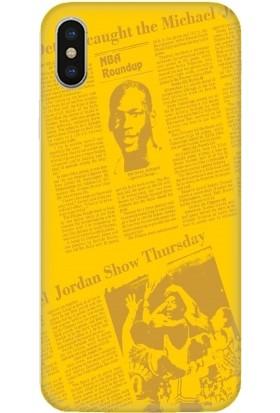 Casethrone Apple iPhone X / XS Sarı İçi Kadife Silikon Telefon Kılıfı Sr38 Jordan Gazete