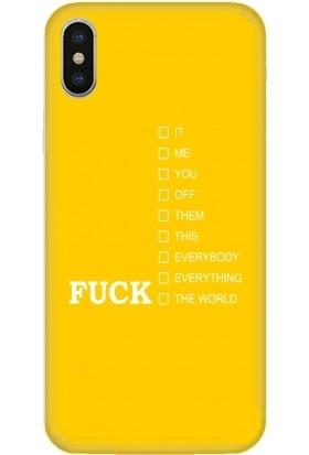 Casethrone Apple iPhone X / XS Sarı İçi Kadife Silikon Telefon Kılıfı Sr61 İt Me You Off