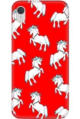 Casethrone Apple iPhone XR Kırmızı İçi Kadife Silikon Telefon Kılıfı Kr16 Unıcornlar