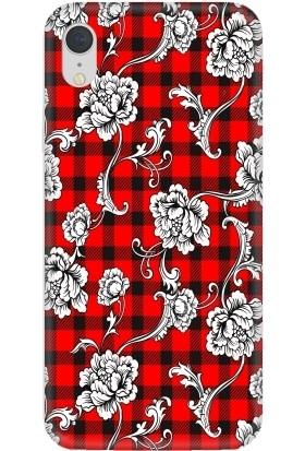 Casethrone Apple iPhone XR Kırmızı İçi Kadife Silikon Telefon Kılıfı Kr56 Sarmaşık