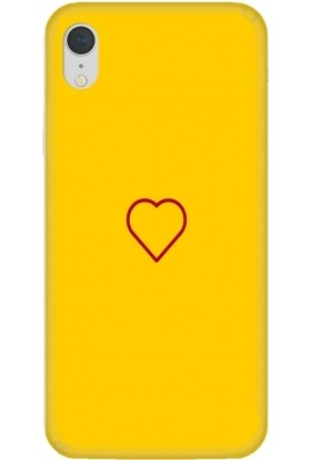 Casethrone Apple iPhone XR Sarı İçi Kadife Silikon Telefon Kılıfı Sr55Heart