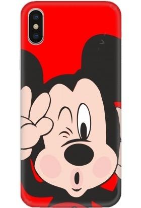 Casethrone Apple iPhone XS Max Kırmızı İçi Kadife Silikon Telefon Kılıfı Kr12 Mikimous