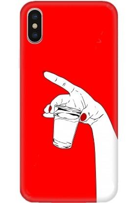 Casethrone Apple iPhone XS Max Kırmızı İçi Kadife Silikon Telefon Kılıfı Kr43 Supr