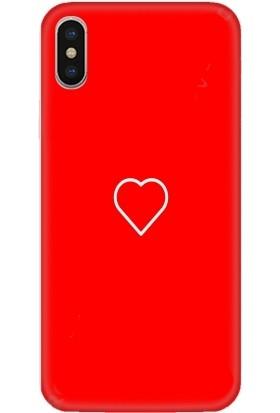 Casethrone Apple iPhone XS Max Kırmızı İçi Kadife Silikon Telefon Kılıfı Kr75 Heart