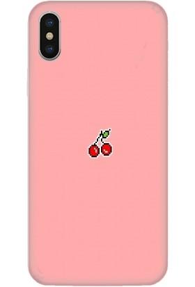 Casethrone Apple iPhone XS Max Pembe İçi Kadife Silikon Telefon Kılıfı Pmb28 Kiraz