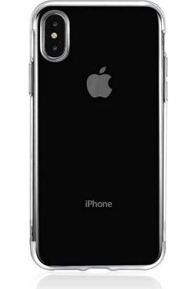 Vendas Apple iPhone x Shining Serisi Kenarları Renkli Silikon Kılıf - Silver