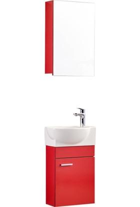 Gold Ban-Yom Oliy 45 Cm Banyo Dolabı + Dolaplı Ayna Ünitesi Kırmızı