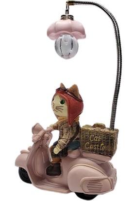 Mrç Prenses Wespa Üzerinde Işıklı Kedi Biblo Masa Lambası