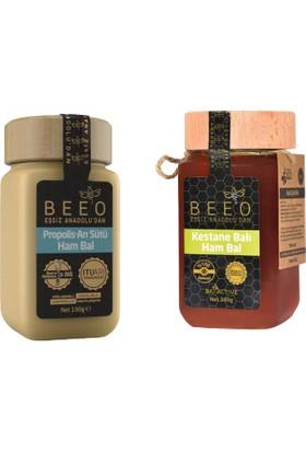 Bee'O Kestane Balı Ham Bal 300 gr + Propolis Arı Sütü Ham Bal