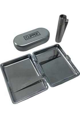 Ardahan Ticaret Metal Tabaka Clipper Çakmak Set