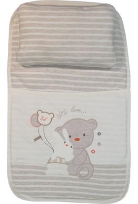 Esil Ozmo Ayıcık Tavşan Nakışlı Çizgili Bebek Alt Açma