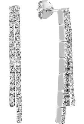 Barış Takı 925 Ayar Gümüş Salkım 2 Sıra Üstten Geçme Su Yolu Düğün Seti Kolye,bileklik,küpe,yüzük