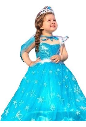Deha Moda Elsa Frozen Anna Karlar Ülkesi Kız Çocuk Party Doğum Günü Kıyafeti Kostümü