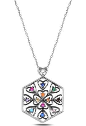 Gümüş 925 Ayar, Rodyum Kaplama, Renkli Zirkon Taşlı Altıgen Içinde Kalp Kolye