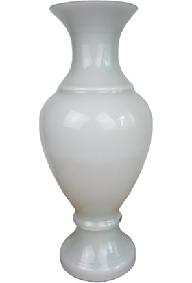Arkeon Home Üfleme Cam El Yapımı Beyaz Vazo
