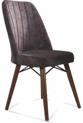 Kaykolsan Ahşap Ayaklı Mutfak Sandalyesi Papel Sırt Baskılı Tay Tüyü Kumaş