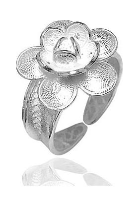 Midyat Gümüş Dünyası Çiçek Model Telkari Gümüş Bayan Yüzük