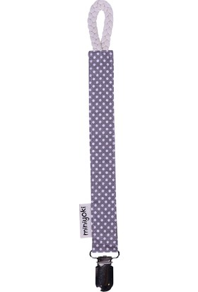 Miniyoki Mercury Gri Emzik Askısı - Polka Dot Desenli