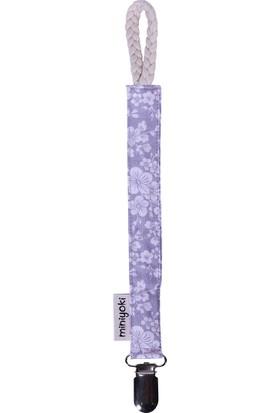 Miniyoki İris Gri Emzik Askısı - Çiçek Desenli