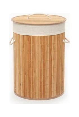 Rem Lorin Bambu Katlanır Çamaşır Sepeti Oval Tek Hazneli Naturel
