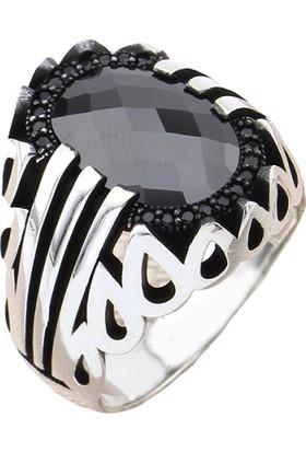 Prestige Gümüş Erkek Yüzük Siyah Zirkon Taşlı Nano Taş Süslemeli