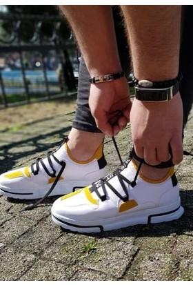 Makro Sneakers Bağcıklı Beyaz Sarı Detaylı Spor Ayakkabı