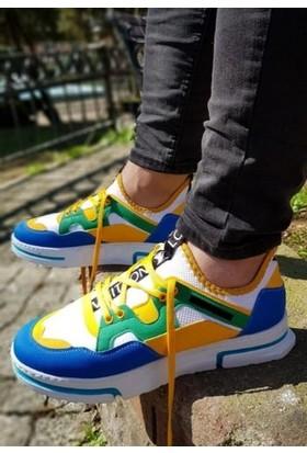 Makro Sneakers Bağcıklı Renkli Detaylı Spor Ayakkabı
