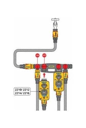 Hozelock 2150H Dörtlü (4'lü) Vanalı Su Musluk Dağıtıcı Adaptörü