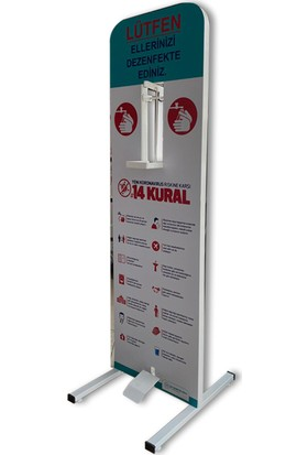 Bayz Dezenfektan Standı Pedallı Ayak Basmalı Metal Profil Stand