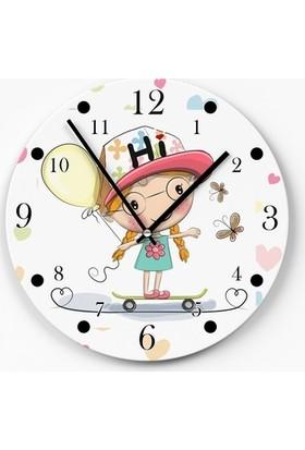 Zarif Dekoratif Çocuk Odası Duvar Saati Kaykaycı Kız Temalı 30 x 30 cm D0195