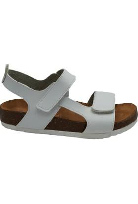 Minican Deri Kız Çocuk Sandalet Beyaz