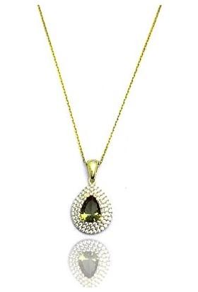 Midyat Gümüş Dünyası Altın Kaplama Özel Tasarım Zultanit Taşlı Bayan Kolye