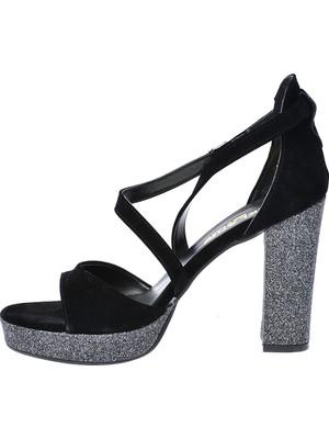 Ayakland 3210-2068 Simli Abiye Platform Topuklu Kadın Sandalet Ayakkabı Siyah