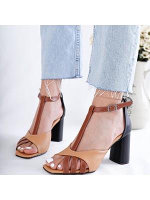 Limoya Jazmine Siyah Nud Taba Topuklu Sandalet