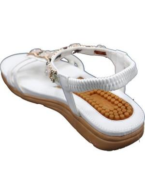 Guja 20Y231-8 Beyaz Kadın Yastık Taban Kolay Giyim Sandalet