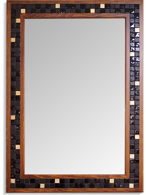 Omca Ayna Mozaik Doğal Taşlı Masif Ahşap